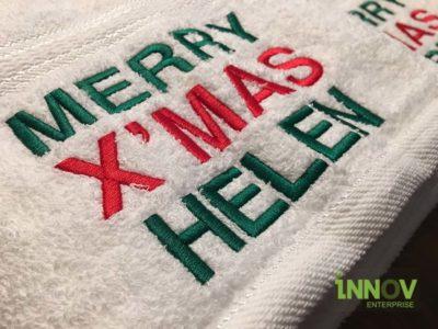 Merry Xmas Bath Towel Name Embroidery