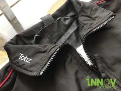 Windbreaker with name Embroidery at the collar