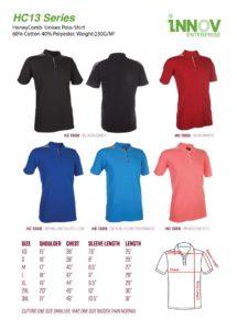 HC13 HoneyComb Polo T-shirt Catalogue