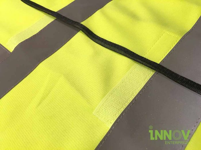 SV Yellow Safety Vest with velcro front upclose